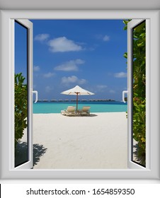 Maldives beach. View from the window.