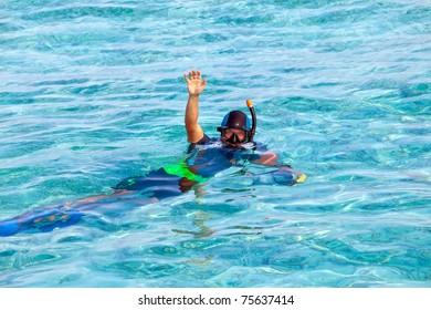 Maldives. The diver at ocean