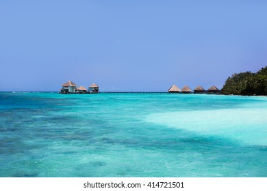 Maldives. Expensive luxury vacation. Ocean view. Water bungalows view.