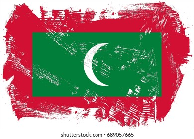 The Maldives flag grunge background. Background for design in country flag