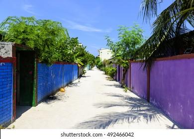 Maldives Island Empty Street Of A Fishermen Island
