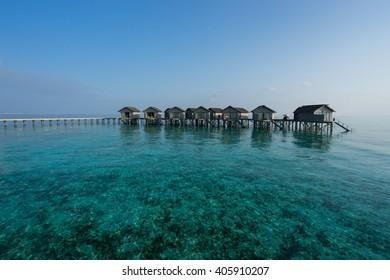 Maldives island, water villas resort