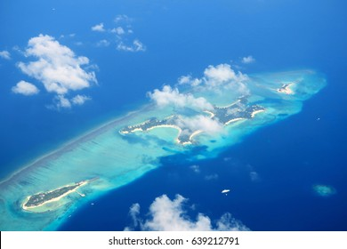 Maldives islands top view from airplane
