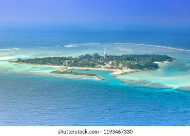 Maldives islands vacation paradise Mathiveri Island sea Ari Atoll aerial photo tourism