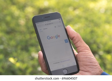 Maldives - July 14, 2027: google search home page on the Apple iphone 7 display screen