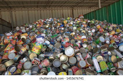 Maldives - July 9 2019: compacted Aluminium cans in waste management facility ready to send for recycling facility