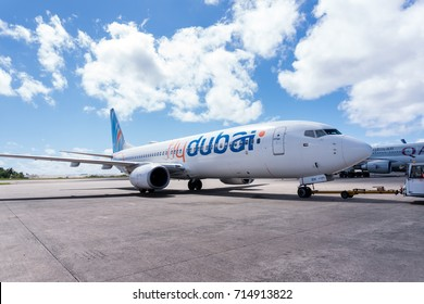 Maldives, Male - 18 March 2017: Airplane FlyDubai ready to take off at airport field.