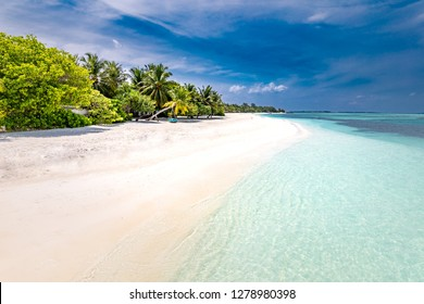 Maldives paradise beach. Perfect tropical island. Beautiful palm trees and tropical beach. Moody blue sky and blue lagoon. Luxury travel destination for vacation or holiday
