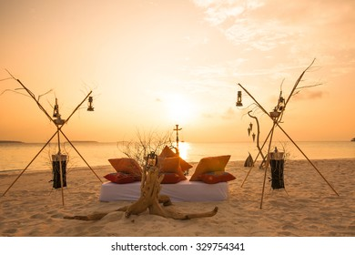 Maldives resort sunset. relax on the beach by the  sea side.