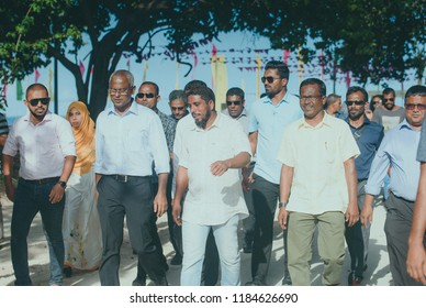 Maldives - September 2 2018: Maldives Opposition  candidate Ibrahim Mohamed Salih addressing and meeting with citizen of an island for campaign in coming presidential Election 2018