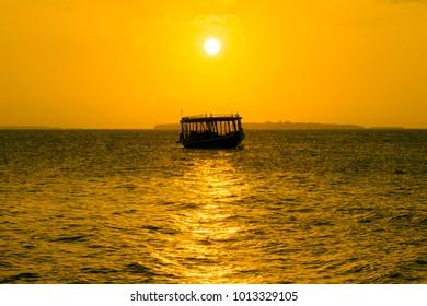 Maldives Sunset, Dhoni Boat, Traditional Boat,