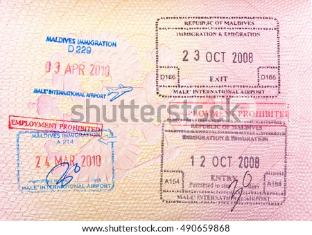 Maldives Visa Stamp In The Passport