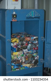 Maldives-12 April 2018: Compacted metal cans in a baler for recycling