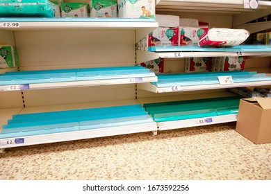 Maldon, Essex, England, March 2020 large supermarket selling out of baby nappies very few left on the shelf do to Coronavirus