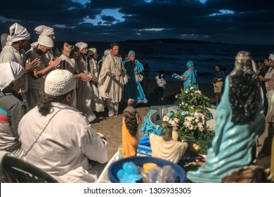 Maldonado, Uruguay - February 2, 2019: Parishioners of the Umbandist church worship Orisha Yemanja (Iemanja) on the Playa Mansa beach in Punta del Este