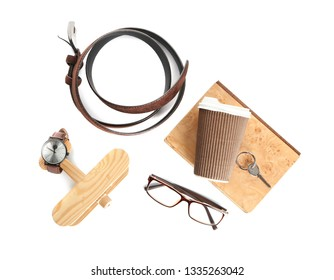 Male accessories on white background