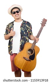 Male and acoustic guitar in holiday summer.