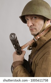 male actor in the winter uniform of an officer of the Red Army period World War II