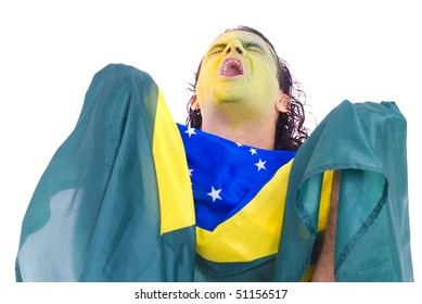 Male Adult Brazilian Supporter holding a flag .