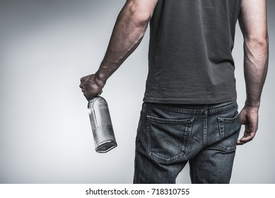 Male alcoholic drinking harmful liquid