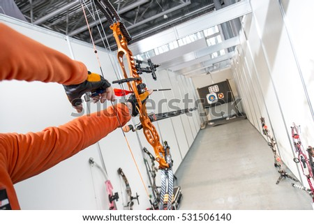 fe45b0ddfb8e Male Archer Shooting Competitions Compound Bow Stock Photo (Edit Now ...