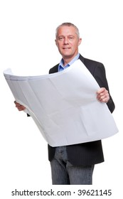 Male architect holding a set of building plans, isolated on a white background.