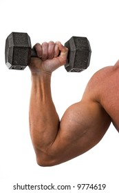 male arm with biceps holding dumbbells