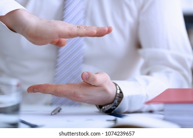 Male arms articulating during conference conversation in office closeup. Suggestion illustrate offer proposition bribe demand concept