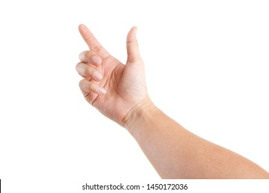 Male Asian hand gestures isolated over the white background. POINTING POSE. FIRST PERSON VIEW.