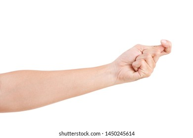 Male asian hand gestures isolated over the white background. HOOK POSE.