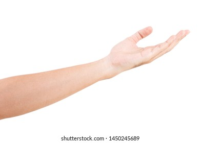 Male asian hand gestures isolated over the white background. BEGGING POSE.