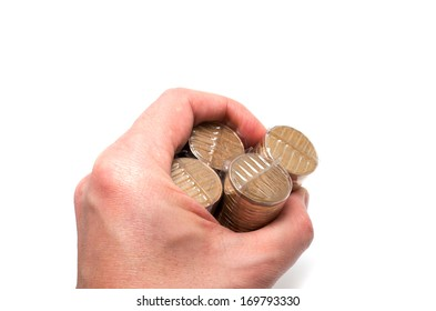 Male Asian hand holding a bunch of one dollar coins on white background