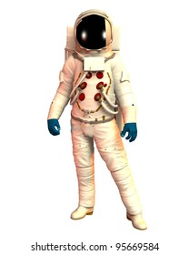 Male Astronaut wearing a spacesuit, helmet,gloves ,boots warm light of the sun. isolated on white background, Clip art cut out illustration