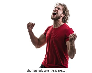 Male athlete / fan in red uniform celebrating on white background