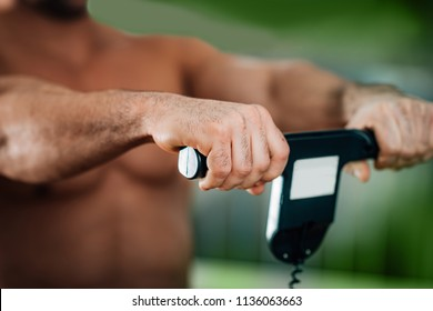 Male athlete  measuring  Body Composition with Scale