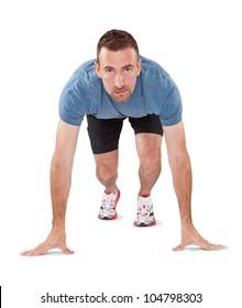 Male Athlete in runner starting stance