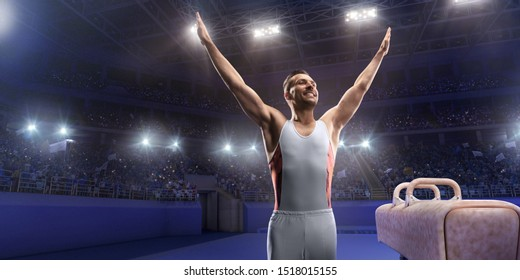 Male athlete standing happily near a Pommel horse in a professional gym.