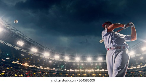 A male baseball player performs a dramatic play on the baseball stadium. He wears unbranded sport clothes. The stadium is made in 3D.