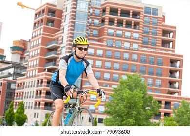Male bikje rider in the park