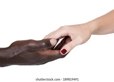 male black and female caucasian holding hands