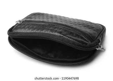 Male black leather purse on white background