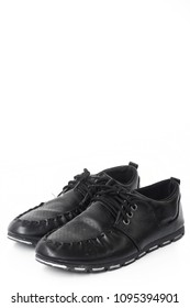 Male black leather shoes isolated on white background.