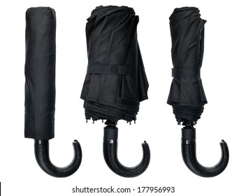 Male black umbrella, isolated on white background