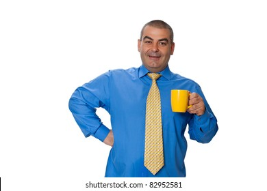 Male blue shirt tie holding a big yellow cup with a drink isolated on white background