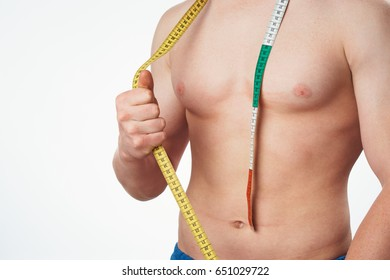 Male body, body centimeter, male with centimeter on body
