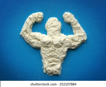 male body  from protein powder. Supplements for bodybuilders, sportmans and healthy eating.