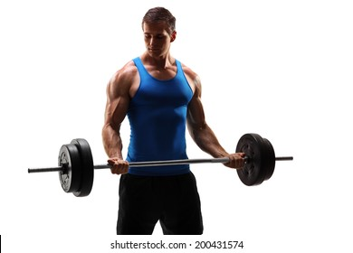 Male bodybuilder exercising with a barbell isolated on white background