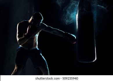 Male boxer boxing in punching bag