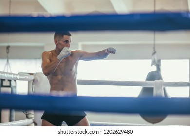 Male boxer during boxing exercise making direct hit. sport concept