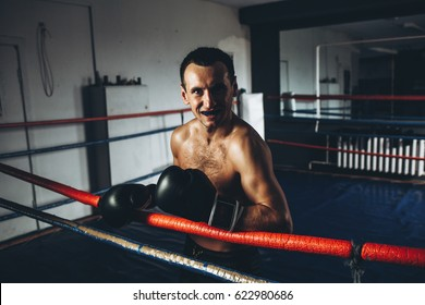 Male boxer training with punching bag in dark gym. Young boxer training on punching bag. Male boxer as exercise for the big fight. Boxer hits punching bag. Young masculine male athlete.